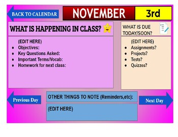 November 2020 Interactive Calendar/Lesson Planner-For any Class (Google Slides)