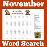 November Worksheet Word Search