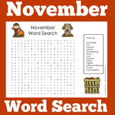 November Worksheet Word Search