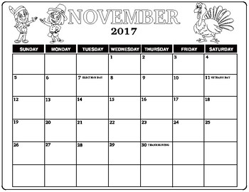 November 2107 Thanksgiving coloring calendar