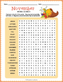 November Vocabulary Word Search Puzzle