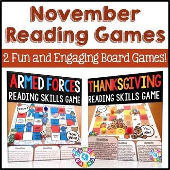 November Activities Bundle: November Reading Games