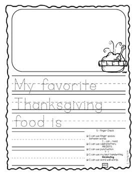 November 5-Finger Check First Grade Journals