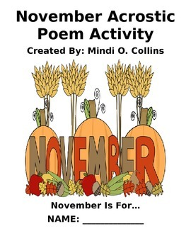November Acrostic Poem Activity