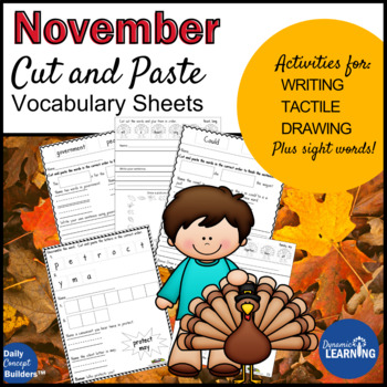 November Word of the Day and Phonics Cut and Paste Vocabulary Activities