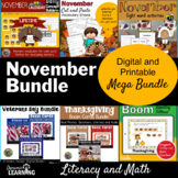 November Literacy and Vocabulary Bundle | Election | Veterans Day | Thanksgiving