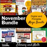 November Literacy and Vocabulary Bundle   Election   Veter