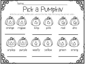 November Activities Math and Literacy No-Prep Printables for PK-K