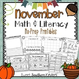 November Activities Math and Literacy No-Prep Printables for PK-K