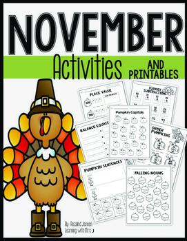 November Activities - Math and Literacy Second Grade