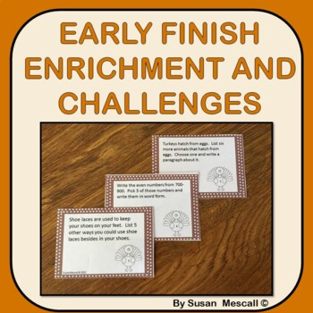 November Enrichment and Challenge Task Cards for Early Finishers