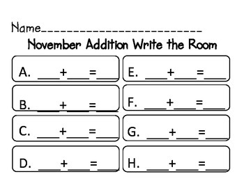 November Add/Subtract Write the Room