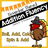 November Addition Fluency Roll and Color, & Spinners