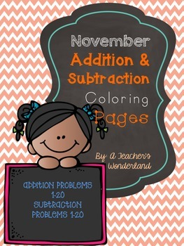 November Addition & Subtraction Coloring Pages