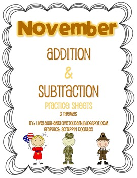 November Addition and Subtraction Practice Pages