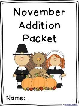 November Addition and Subtraction Worksheet Packets Bundle