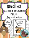 November Addition and Subtraction Worksheet Packets Bundle {Just Print & Go!}