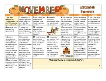 November Articulation Calendar 2015