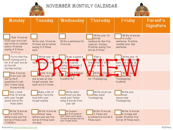 November Articulation Calendar