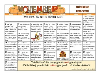 November Articulation Calendar (PLUS App List for Speech!)
