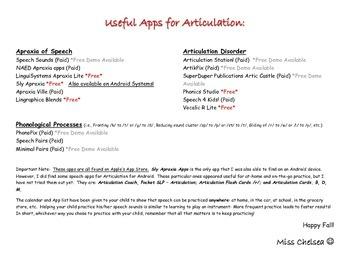 November Articulation Calendar (PLUS App List for Speech!)