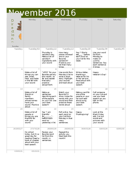 November Articulation Practice Calendar