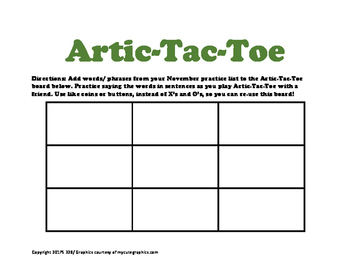 November Articulation Practice Packet