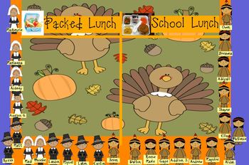 November Attendance Flipchart (Packed Lunch, School Lunch)