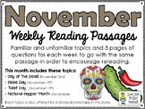 November BUNDLE of Weekly Reading Passage and Questions (4