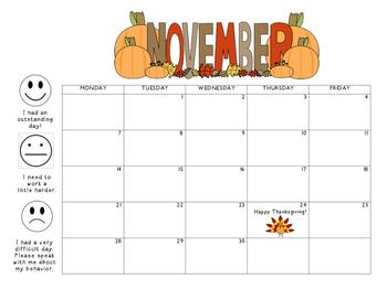 November 2016 Behavior Calendar