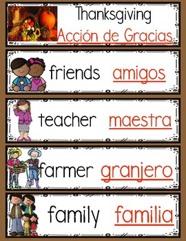 Bilingual November Words For The Month