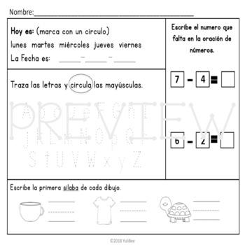 November Bilingual Morning Work