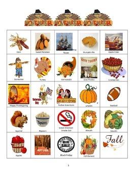 November Bingo or Word Cards