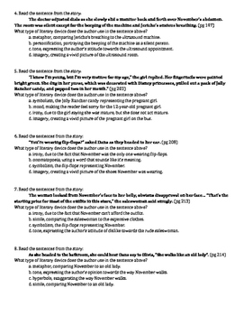November Blues: pgs 182-217 Descriptive&Figurative Language Worksheet