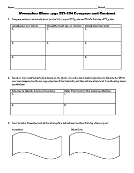 November Blues: pgs 237-254 Compare and Contrast Questions
