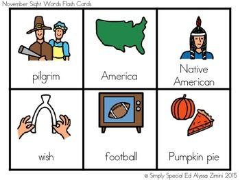 November Boardmaker Vocabulary Unit