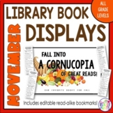 November Book Display Signs with Editable Readalike Bookmarks