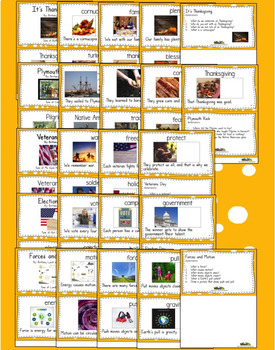 November Interactive Vocabulary  Books and Songs