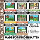 November Boom Cards™ for Kindergarten Turkey Theme Bundle