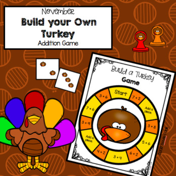 Thanksgiving November Build a Turkey Math Addition Game for First Grade Centers