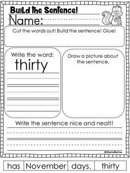 November Build the Sentence