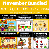 November Bundled Kindergarten Math & Literacy Power Point Games