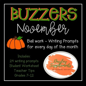 November Buzzer Packet (Bell Work-Journal) Common Core Writing Prompts