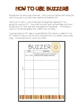 Buzzer Packet NOVEMBER (Bell Work-Journal) Common Core Writing Prompts
