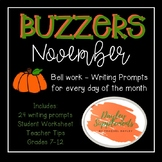 Buzzer Packet NOVEMBER (Bell Work-Journal) Common Core Wri