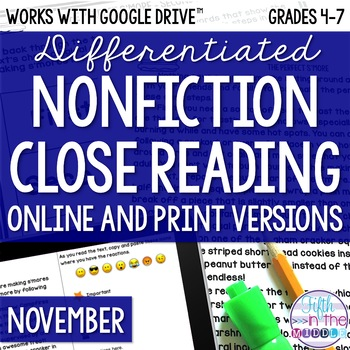 November COMBO Differentiated Nonfiction Close Reading Texts and Activities