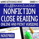 November COMBO Differentiated Nonfiction Close Reading Tex