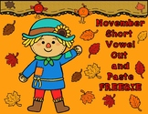 November CVC Words:  Word Work for Kinder and First Grade