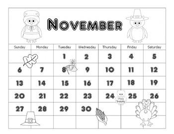 November Calendar 2016 Editable Printable and Thanksgiving Math Printable