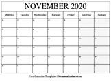 November Calendar 2019 - Printable Template